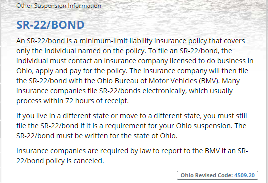 SR22 bond ohio bmv info
